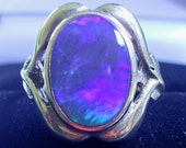 Art Deco 9ct gold natural black opal ring