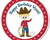 Personalized Labels -- Cowboy -- Personalized Stickers, Address Labels, Party Favors, Birthday Party -- Choice of Size