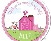 Personalized Stickers -- Farm Girl -- Personalized Labels, Birthday Party Labels, Party Favor Stickers -- Choice of Size