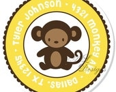 Personalized Stickers -- Monkey -- Address Label, Personalized Labels, Party Favor -- Choice of Size