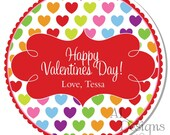 Personalized Valentine Stickers - Colored Hearts - Valentines Day , Personalized Labels, Valentine Labels, Valentine Party - Choice of Size