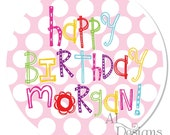 Personalized Birthday Stickers -- Polkadot Fun -- Personalized Graduation Labels, Choose Your Colors, Custom School Colors