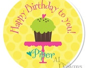 Personalized Birthday Stickers -- Cupcake -- Personalized Labels, Personalized Party Stickers, Personalized Childrens Label