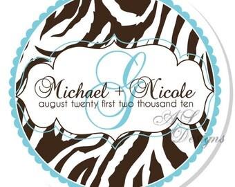 Personalized Stickers - Zebra Print Monogram - Personalized Labels, Wedding Labels, Shower, Monogram, Personalize Zebra Stickers