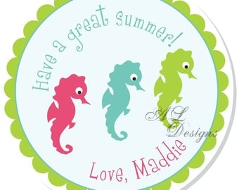 Personalized Stickers -- Seahorses -- Address Label, Personalized Labels, Party Favor -- Choice of Size