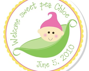 Personalized Shower Stickers -- Pea in Pod -- Personalized Stickers, Personalized Labels, Shower Favor Stickers -- Choice of size