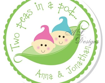 Personalized Shower Stickers -- Two Peas in a Pod -- Personalized Sticker, Personalized Label, Personalized Favor Label -- Choice of Size