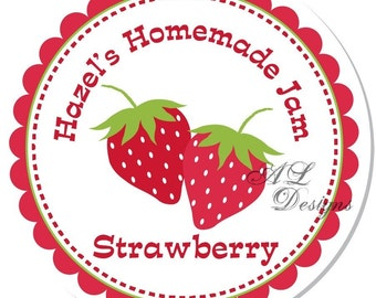 Personalized Stickers -- Strawberry -- Personalized Canning Labels, Personalized Preserves Label -- Choice of Size