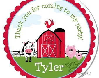 Personalized Stickers --  CUTE FARM -- Personalized Party Labels, Personalized Childrens Stickers, Birthday Party Favors -Choose the Size