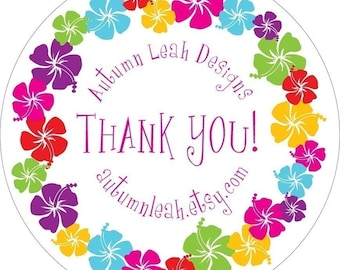 Autumn Leah Designs -- HAWAIIAN FLOWER -- Thank You, Party, Wedding, Promotion, Address Label, Invitation, Announcement, Shower, Party Favor
