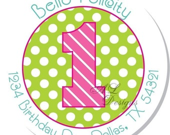 Personalized Birthday Stickers -- Girl Birthday Number -- Personalized Labels, Address Labels, Party Favors -- Choice of Size