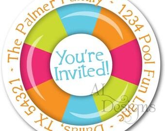 Personalized Birthday Stickers -- Swim Floatie -- Personalized Labels, Personalized Party Labels, Party Favor Stickers -- Choice of Size