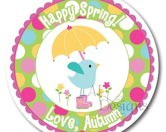 Personalized Stickers -- Rainy Day Bird -- Party Favor Stickers, Personalized Labels, Thank You Stickers -- Choice of Size