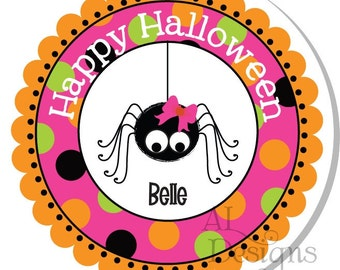 Personalized Halloween Stickers -- Halloween Girly Spider -- Labels, Address, Party, Thank You, Favors, Tags