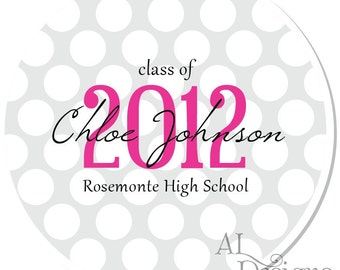 Personalized Graduation Stickers -- Polkadots -- Personalized Graduation Labels, Choose Your Colors, Custom School Colors