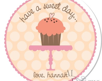 Personalized Stickers -- Sweet Cupcake -- Personalized Labels, Personalized Party Stickers, Personalized Childrens Label