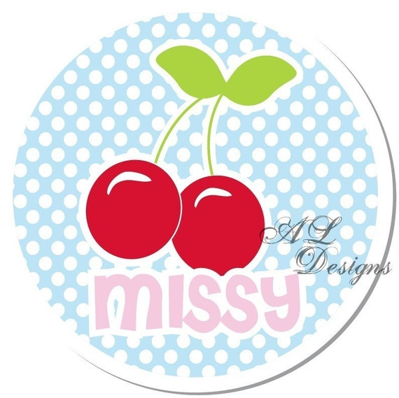 Personalized Labels -- Polkadot Cherries -- Personalized Labels, Personalized Birthday Labels, Party Favor Labels - Choice of Size