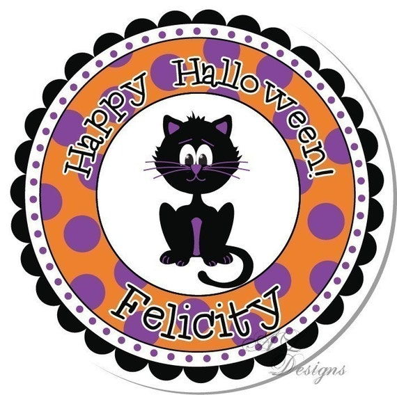Personalized Halloween Stickers -- Black Cat -- Halloween Labels, Personalized Stickers, Party Favors - Choice of Size