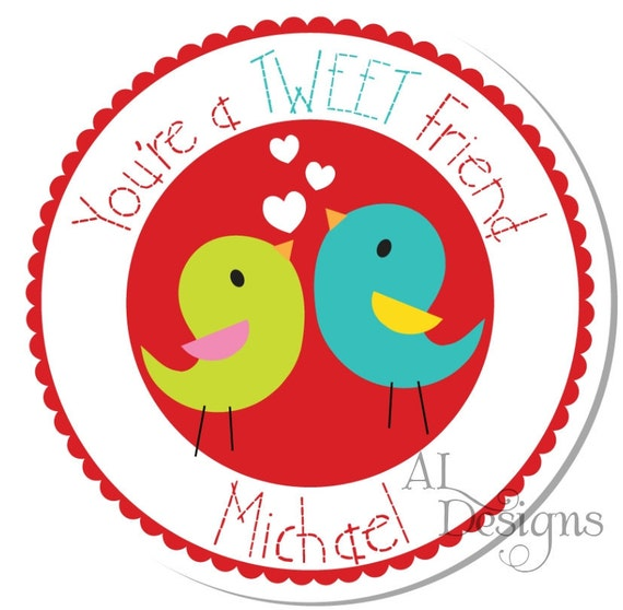 Personalized Valentine Stickers - Birds - Valentine Stickers, Personalized Labels, Valentine Labels, Valentine Party - Choice of Size