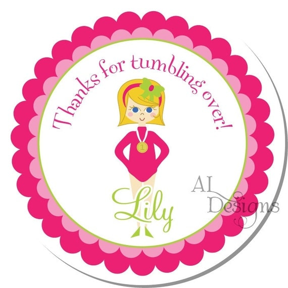 Personalized Birthday Stickers -- Gymnast -- Personalized Shower Labels, Personalized Labels, Thank You Stickers -- Choice of Size