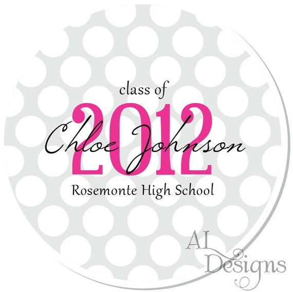 Personalized Graduation Stickers -- Polkadots -- Personalized Graduation Labels, Choose Your Colors, Custom School Colors