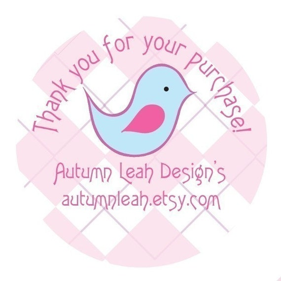 Autumn Leah Designs --  NEW -- Girly Girl Birdy Thank You Stickers -- 48 Stickers