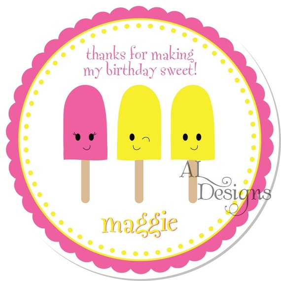 Personalized Stickers -- Popsicles -- Personalized Stickers, Personalized Labels, Shower Favor Stickers -- Choice of size
