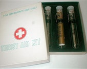 Vintage 60s Gag Gift - Thirst Aid Kit - Pocket Clip On Test Tubes For Booze - Handy and Discreet