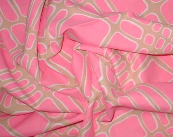 Paved Pink - Beige and Pink Dress Crepe Fabric - Vintage 60s - 2 Plus Yds.