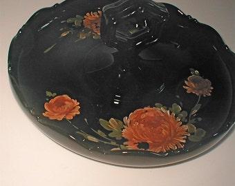 Black Amyethest Glass Server - Black Glass- Handled and Painted Server Platter