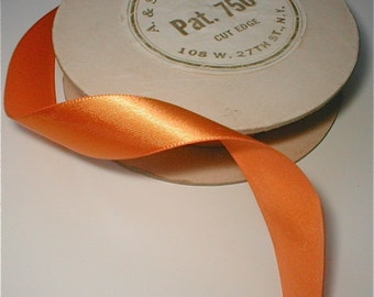 "Gold Satin 3/4"" Ribbon - Vintage 1940's  - Price by the Yard"