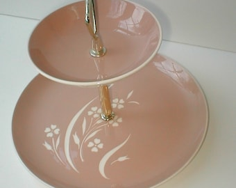 "Harkerware Two - Tier Serving Plate - Vintage ""Springtime""  design - Hors d'Oeuvres and Tea Cakes Server"