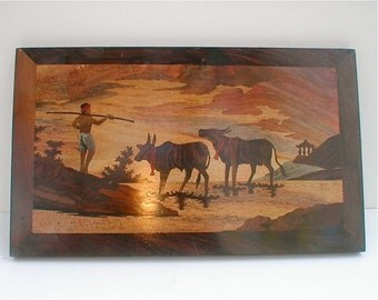 Vintage Inlaid Wood Scene - Exotic Woods Vintage 1950's Farming Scene -