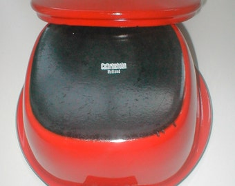 Cathrine Holm Casserole - Vintage Dutch Oven Enamelware - Red Oven to Table Pot