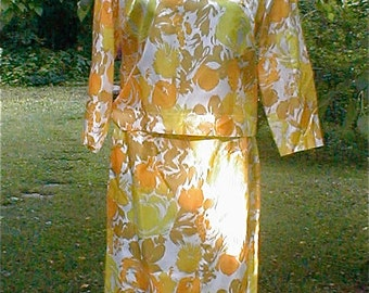 Early 60's  Silk Print  Skirt and Blouse - Easter Outfit Golden Yellow Flower Print Silk Twill 2 Piece Day Dress