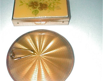 Vintage Magnifying  Mirror and Pillbox Set - The Bucklers Pillbox with Mirror - Vintage 40s and 50s