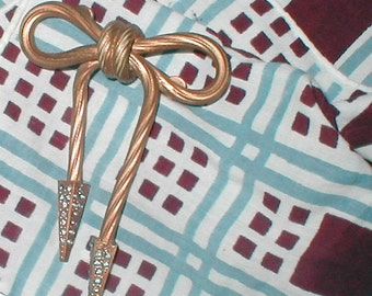 Deco Rope Bow Brooch- Golden and Drippy - Vintage 1920s