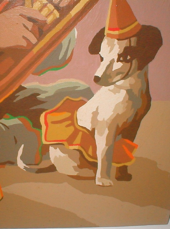 Sidekick Pup And Tuba Clown Vintage Paint By Numbers Painting