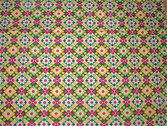 Daisies and Dots -  Mod Cotton Cloth  - Vintage 60s -  2 Yds. Plus