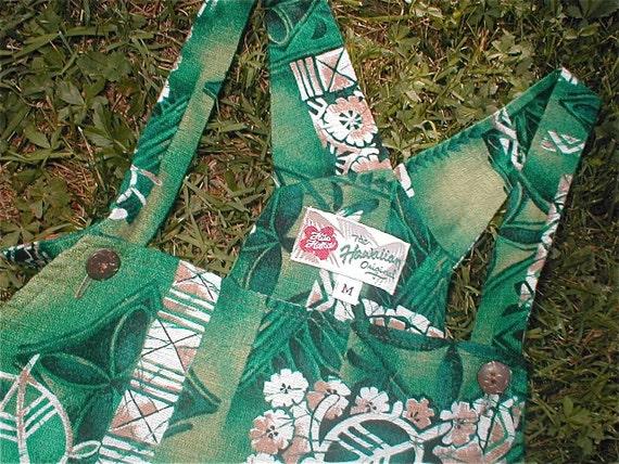 RESERVED for Christine -Hilo Hattie Bark Cloth Romper - Vintage 60s Short Short Overalls - Hawaiian Regency