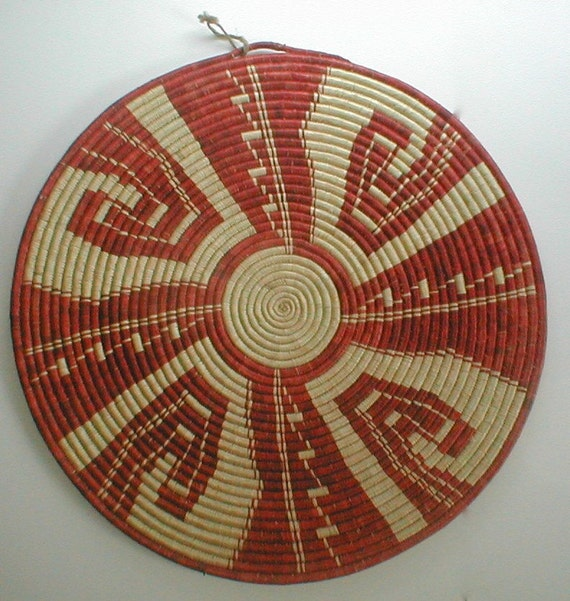 Woven Grass Table Mat Native American Coil Weaving Huge