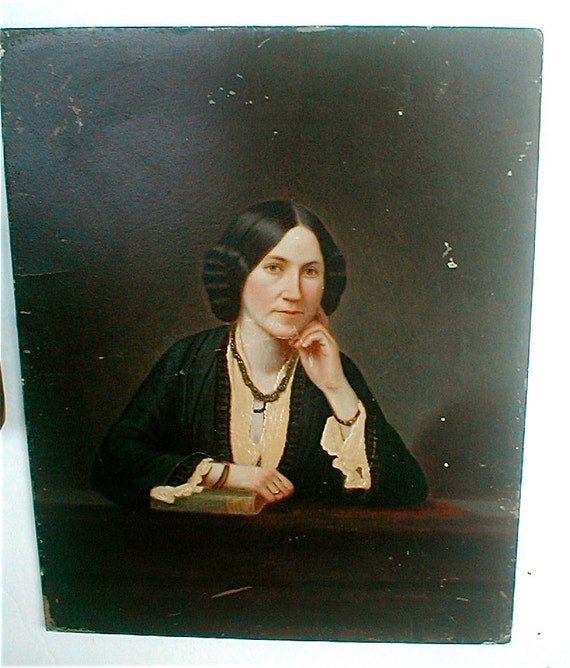 She, the Book Lover  -  Antique  Painted Full Plate Tintype Portrait - Vintage 1850's - Hand Painted