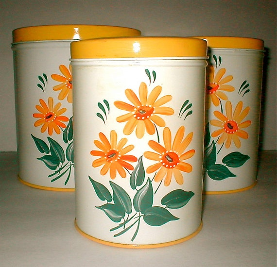 Vintage Tin Counter Canisters - Colorware - Classic Storage Tins