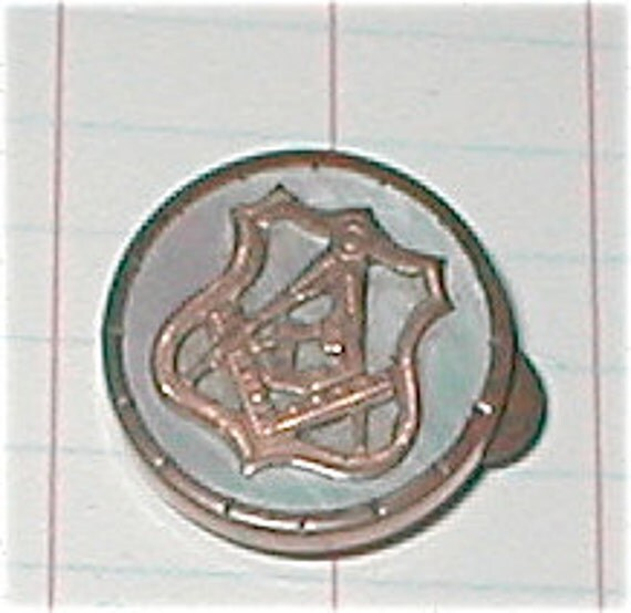 Vintage 20s Masonic Button MOP and Gold Emblem - Members Only Lapel Clip Free Masons