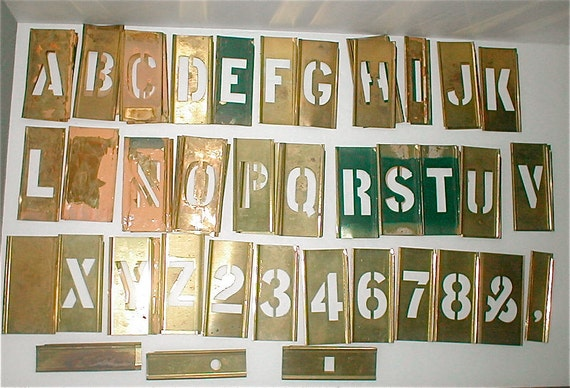RESERVED for Jo -------Old Brass Alphabet Stencils -  Half inch Scale Industrial Sign Making