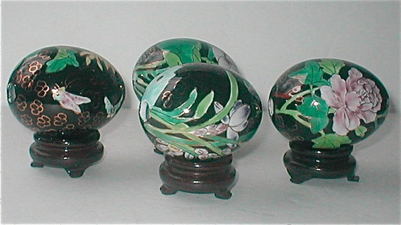 Porcelain Egg Collection  Chrysanthemum Iris Peony Lotus Flowers  Wooden Stands  Mythical Flower Eggs Made in Japan