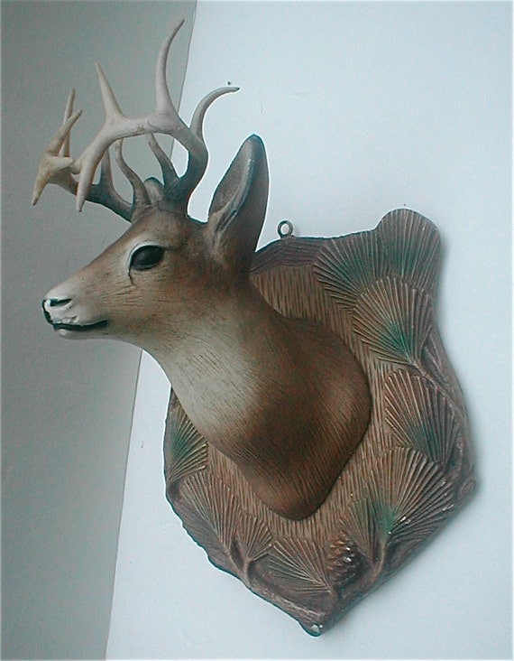 Vintage Chalkware Stag Mount - 40s Cabin Rustic Wall Hanging Plaque