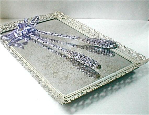 Speckled Mirror Vanity Tray - Vintage 50s Metal Frame Organizer - Hollywood Regency Elegant