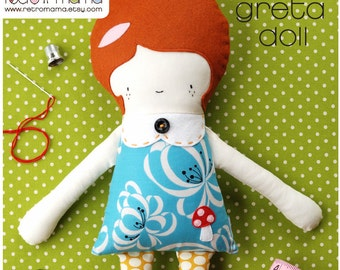 Girl Doll - Fabric Doll - Greta Doll PDF Sewing Pattern - Instant Download