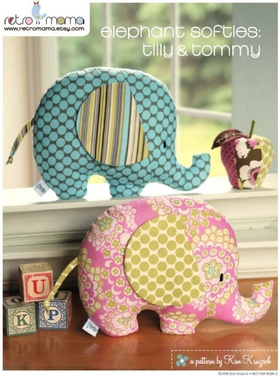 PDF Sewing Pattern Tilly and Tommy Elephant Softies